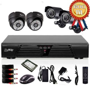 Funk Überwachungskamera Set Liview 4 Kanal CCTV H.264 DVR 4 HD 600TVLines